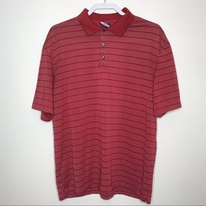 Nike Golf Red And White Stripe Dri Fit Polo